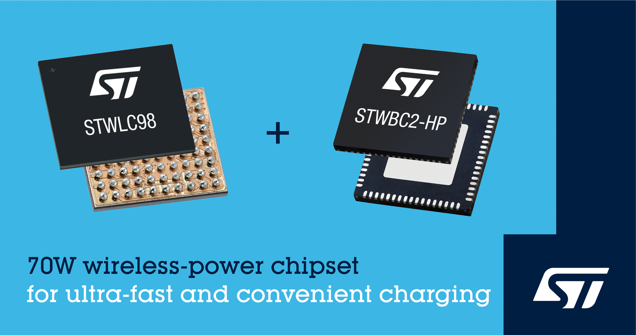 STMicroelectronics Introduces 70 W Qi Compliant Chipsets for Ultrafast and Convenient Charging