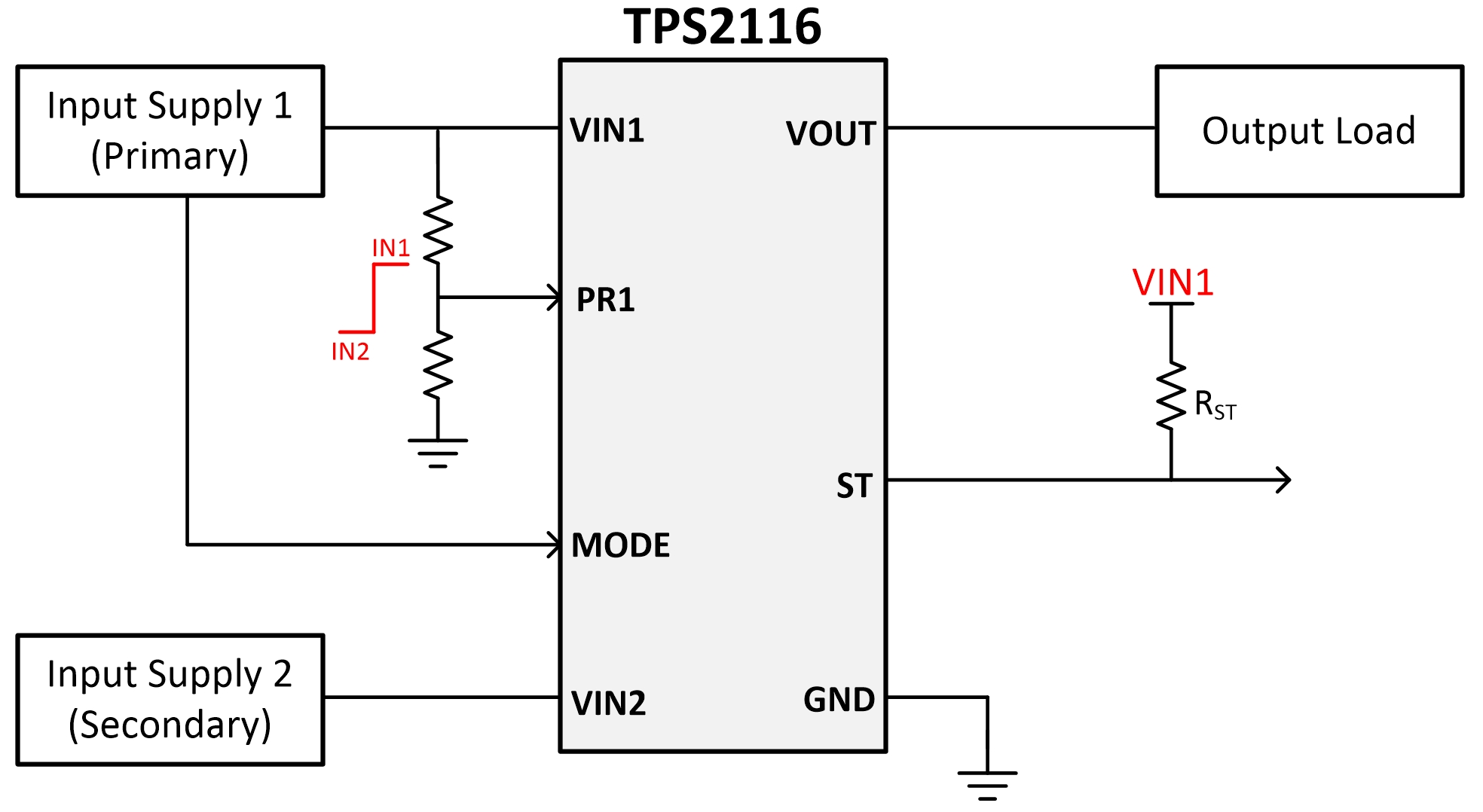 TPS2116 1.6 V to 5.5 V, 40 mΩ, 2.5 A, Low-IQ Priority Power Multiplexer