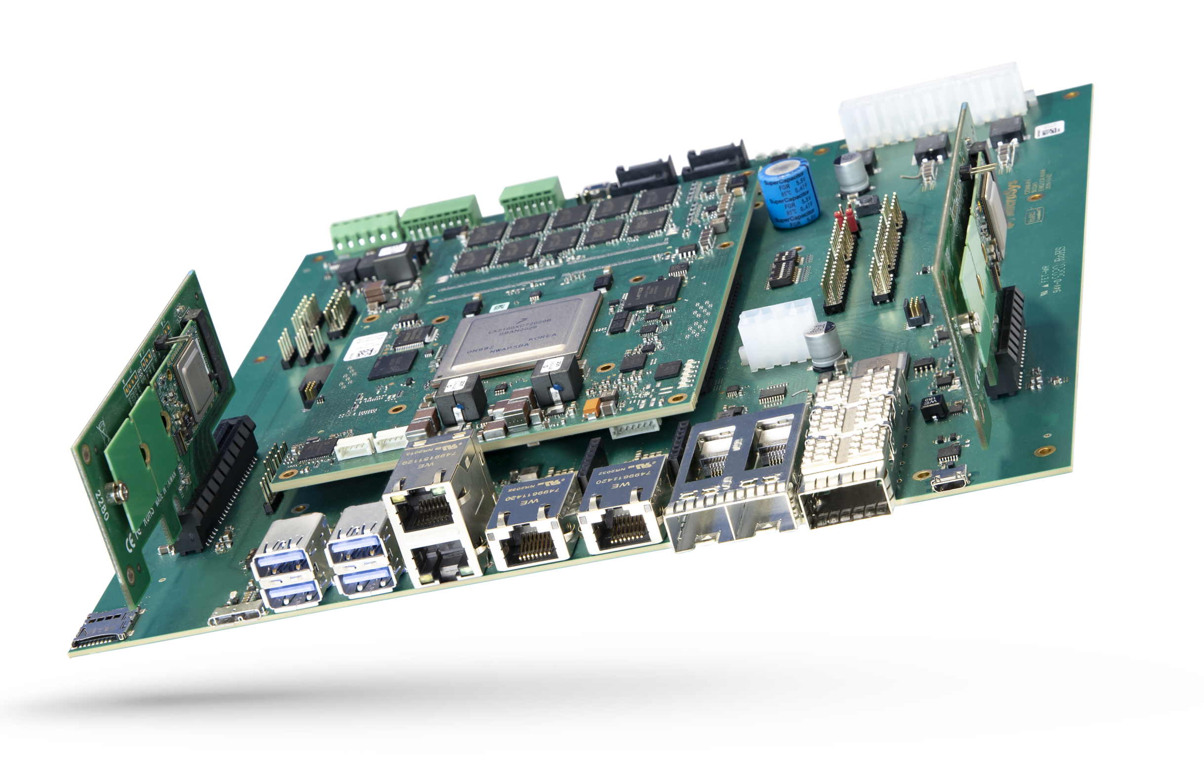 Embedded AI platform combines 16-core NXP Layerscape LX2160A processor with up to 5x Hailo-8 NPUs